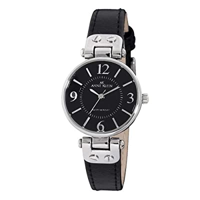 Anne Klein Women's 109443BKBK Silver-Tone Black Dial and Black Leather Strap Watch