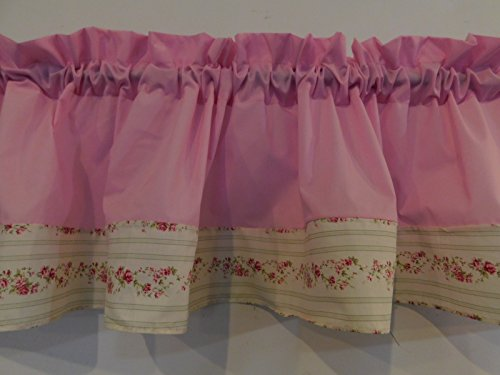 Valance Pink and rosebuds Window curtain / Kitchen, Bath, Laundry, Camper, RV, basement, kids playrooms, dorm, Bedroom , daycare schools, shabby chic , 57