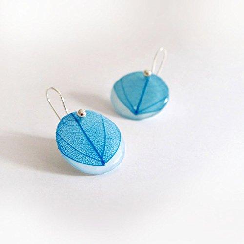 Pendientes Hoja Azul Gancho. Hecho a mano en España con hojas de Laurel: Amazon.es: Handmade
