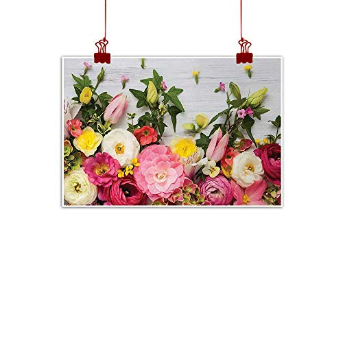 Sunset glow Home Wall Decorations Art Decor Rustic,A Bunch of Flowers Ranunculus on Wood Backdrop Rose Fragrance Floral Spring Pattern,Multicolor 20