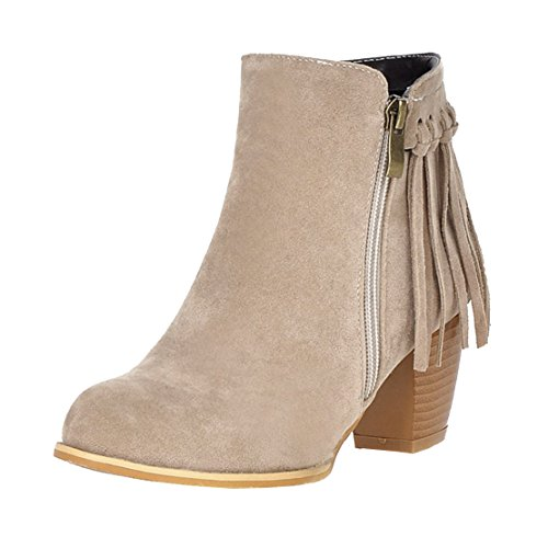 AIYOUMEI Womens Fashion Zipper Round Toe Bootie Thick Heels Autumn Winter Ankle Boots with Tassels Apricot