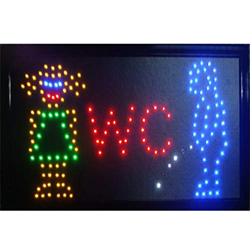 CHENXI LED Toilet Signs hot Sale 10X19 inch Indoor Ultra Bright Running WC Neon Light Sign (48 X 25 cm, A)