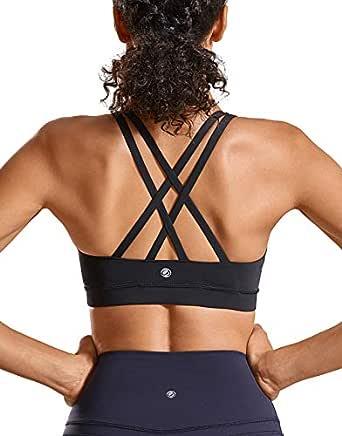 CRZ YOGA Women's Strappy Back Wirefree Padded Workout Yoga Sports Bra Black XS