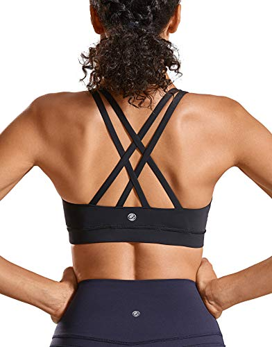 CRZ YOGA Strappy Padded Sports Bra for Women Activewear Medium Support Workout Yoga Bra Tops Black-Logo XL