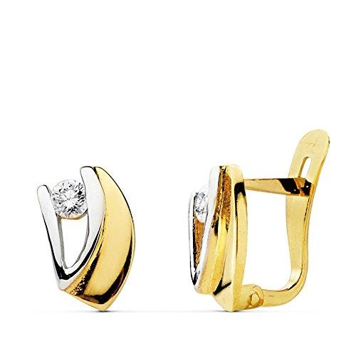 Boucled'oreille 18k 9mm bicolor d'or. zircons première communion [AB0731]