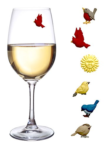 Simply Charmed Magnetic Wine Charms Set of 6 Bird Glass Markers to Identify Your Drink - Great Way to Personalize Stemless Glasses