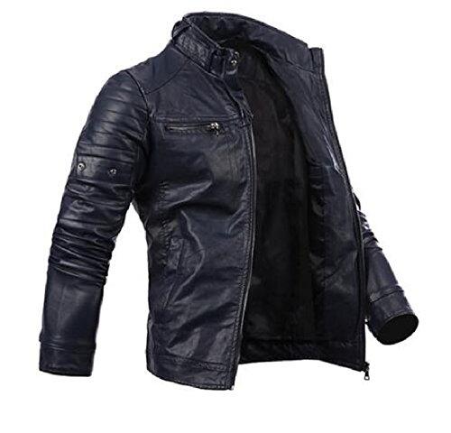 XQS Men's Full-Zip Pu Leather Wild Resolve Solid Jacket Coat Black S
