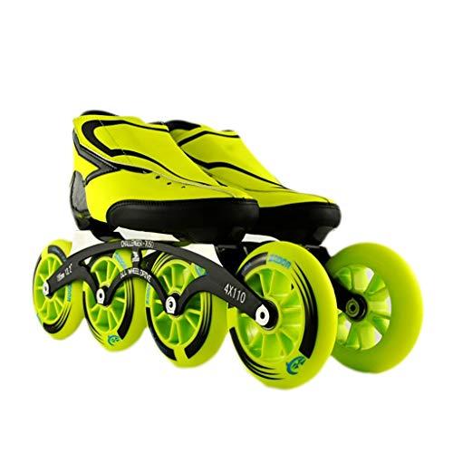 バイパス密度立場NUBAOgy インラインスケート、90-110ミリメートル直径の高弾性PUホイール、2色で利用可能な子供のための調整可能なインラインスケート (色 : Green, サイズ さいず : 38)