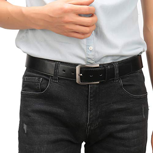 (QUEYUB Men's Dress Belts Genuine Leather 1.5