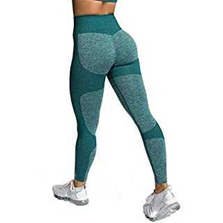 Zarjar High Waisted Sports Leggings for Women, Seamless Tight Yoga Workout Pants Light Forest Green M