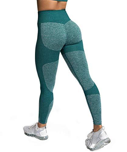Zarjar High Waisted Sports Leggings for Women, Seamless Tight Yoga Workout Pants Light Forest Green M