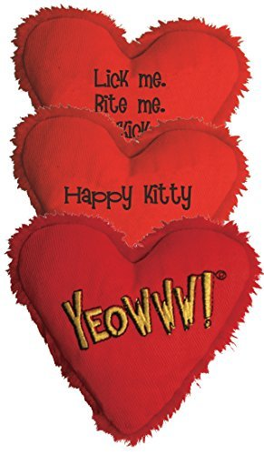 Yeowww! Heart Attack Pack: 3X 100% Organic Catnip Heart Cat Toys, Each with a Different Phrase by Yeowww!