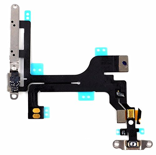 Power Volume Button (GOPROCELL (TM) Power Mute Volume Button Switch Flex Cable MIC with Metal Bracket for iPhone 5C)