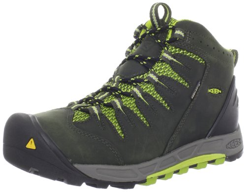 KEEN Women's Bryce Mid Waterproof Hiking Boot,Forest Night/Bright Chartreuse,6.5 M US