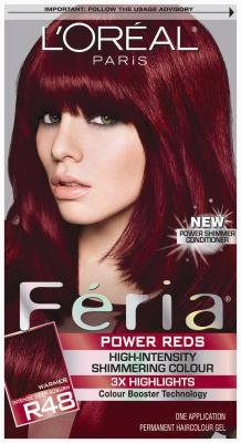 L'Oreal Paris Feria Hair Color - R48 Power Reds Intense Deep Auburn/Red Velvet (Pack of 3) by L'Oreal Paris