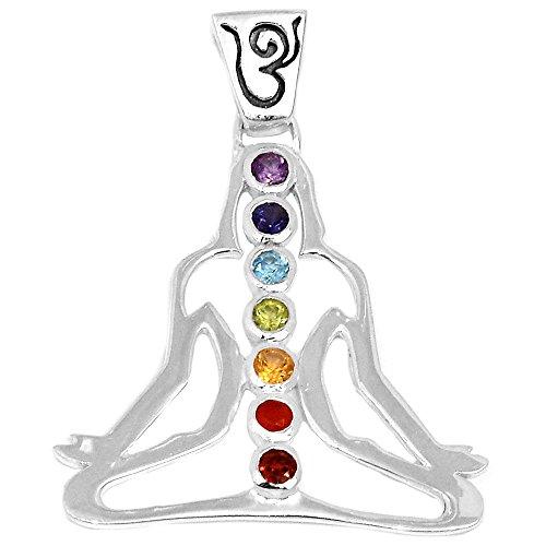 Xtremegems Buddha Yoga Meditation Healing Chakra 925 Sterling Silver Pendant Jewelry 1 3/4 AAACP204