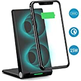 Gamtec Stand Up Fast 15W Wireless Charger,Dual Coil Foldable USB C Qi 2 in 1 Stand/Flat Charging Pad Station Phone Holder Compatible iPhone Xs/Max/XS/XR/X/8/8+, Samsung S10/S10+/S9/S9+/S8/S8+/S7/S7+