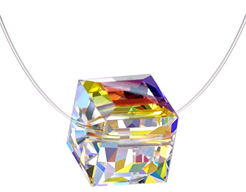 Infinite U Sterling Silver Color Changing Crystal Cube Birthstone Choker Invisible Fish Line Necklace