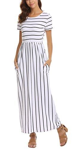 SimpleFun Women's Stripe Print Short Sleeve Pockets Empire Waist Pleated Long Maxi Dress(White Stripe,XL)
