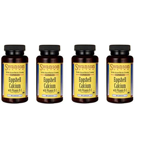 Swanson Eggshell Calcium with Vitamin D-3 60 Capsules 4 Pack