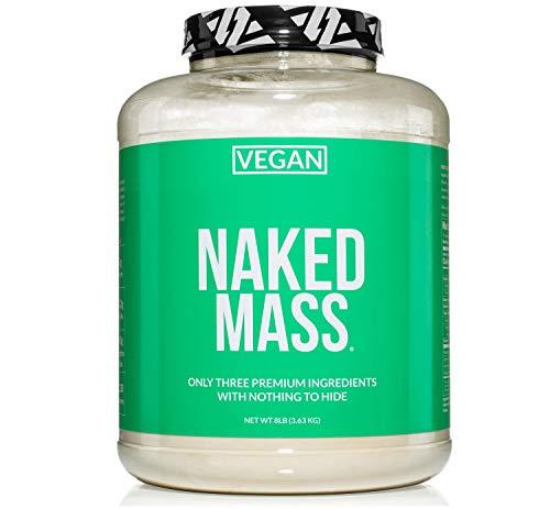 Naked Vegan Mass - Natural Vegan Weight Gainer Protein Powder - 8lb Bulk, GMO Free, Gluten Free, Soy Free & Dairy Free. No Artificial Ingredients - 1,230 Calories - 11 Servings