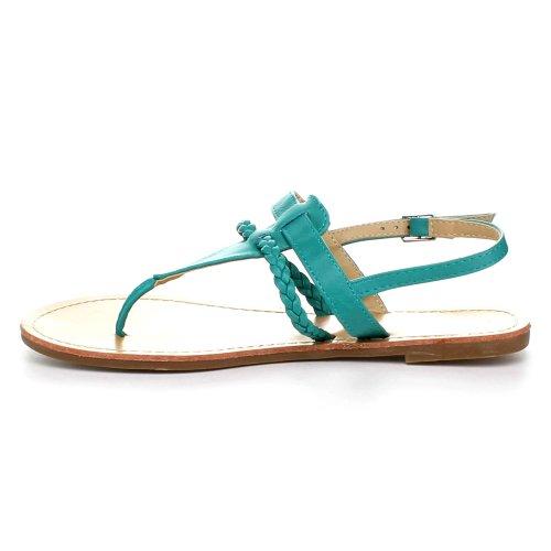 Bellamarie Basis-1 Kvinner Slingback T-rem Flette Flat Gladiator Tanga Sandal, Farge: Smaragd, Størrelse: 6