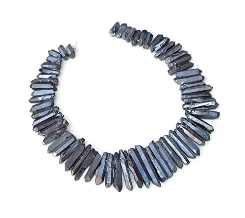 Black Titanium Quartz Crystal Points. Excellent Gemstones for Jewelry Making. Rough Raw Quartz Jewelry Stones. Full Strand - 20mm - 40mm