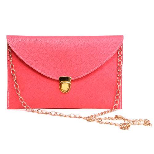 HDE Women's Envelope Clutch Purse Handbag (Pink) (Clutch Purse)