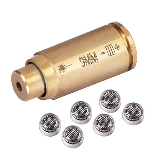 Gogoku Bore Sight for 9mm Cartridge Hunting Red Laser Boresighter with 3 Sets of Batteries