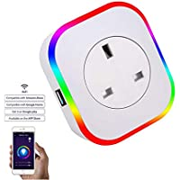 BNTTEAM LED Smart Plug WiFi Outlet with USB Port,13A Mini Plug Works with Alexa, Google Home, Wireless Socket Remote…