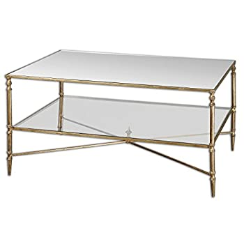 """38"""" Collier Antiqued Gold Leaf, Mirror & Glass Rectangular Coffee Table"""