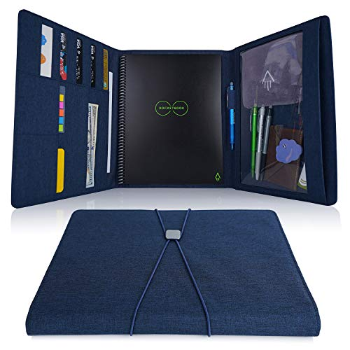 "Folio Cover for Rocketbook Everlast, One Letter Size, Cloth Fabric, Multi Organizer with Pen Loop/Zipper Pocket/Business Card Holder, Water-Resistant, fits A4 size Notebook, 11.4"" x 9.4"""