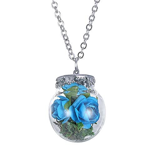 Amazon Com Dried Flowers Bottle Necklace Glass Terrarium Necklace