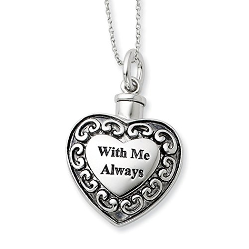 Sterling Silver 925 Heart Shaped With Me Always Cremation Ash Holder Pendant With Chain by SVJDirect