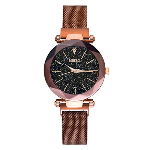 Fashion Ladies Watch Magnetic Mesh Band Starry Sky Dial Analogue Quartz Stainless Wrist Watch for Women (Rose Gold -1)