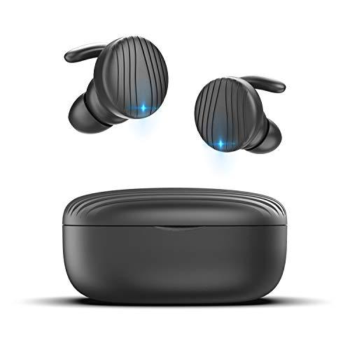 True Wireless Earbuds, TECTOKA Bluetooth Earbuds Wireless Headphones Sport Bluetooth Headset Wireless Earphones IPX7 Waterproof Bluetooth 5.0 Stereo Hi-Fi Sound Deep Bass with Charging Case (Black)