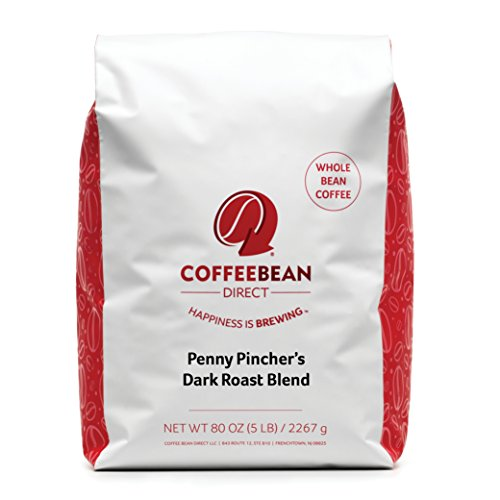 Coffee Bean Mail Penny Pincher's Dark Roast Blend Coffee, Whole Bean, 5 Pound