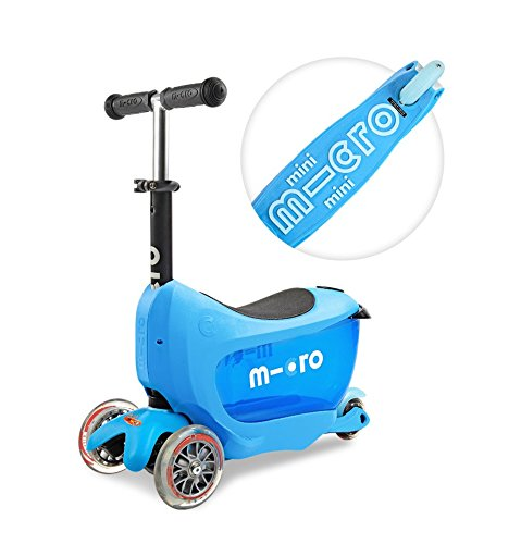 Deluxe Mini 2 Go 3 in 1 Blue Mini Micro 3 Wheeled Scooter Adjustable Ride On with Seat O Handle Bar Storage Drawer for Girls Boys Kids Children 18 months up