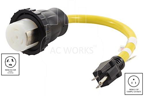 AC WORKS 50Amp RV Marine Detachable Adapter (5-15P Household 15A Plug-Flexible) by AC WORKS (Image #1)