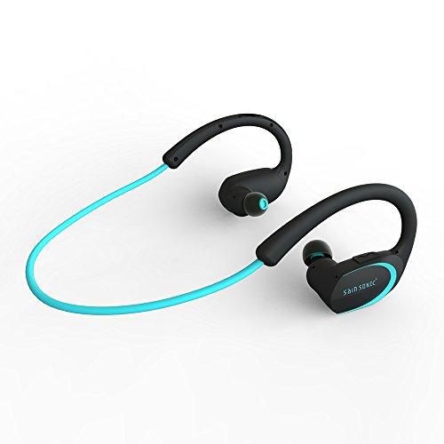 Bluetooth Kopfhörer, SainSonic R9 V4.1 Wireless-Sports HD Stereo-Ohrhörer , Leicht und wasserdicht für das Rennen, Eingebautes Mikrofon für iPhone, iPad, Macbook (Ocean Blue)