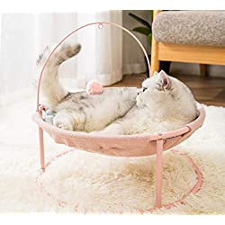 NAMBM Cat Bed Pet Hammock Rocking Chair Rolling Cradle Swing Toy for Small Cat Baby Cat Kitten Easy Assemble, Pink