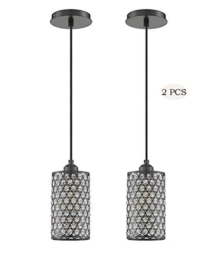 Seenming Lighting 1 Light Crystal Pendant Lighting with Plating Black(Set of 2), Modern Style Ceiling Light Fixture with…