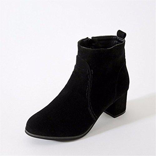 Talón de manga corta y cremallera dama botas cortas de gran tamaño en otoño e invierno black