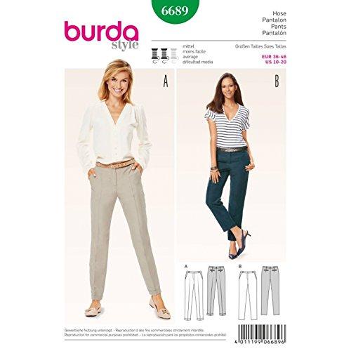 BURDA 6689 PANTS (SIZE 10-20) SEWING - Career Cuffed Pants