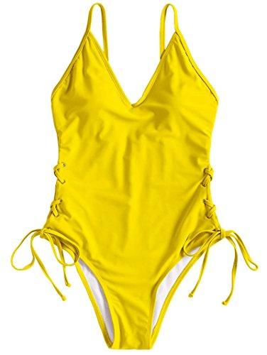 V Gamba Giallo Estiva Tinta Con Donna Da Zaful A Bikini Bagno Intero Moda Costume Alto Scollo Unita B6wqXp61