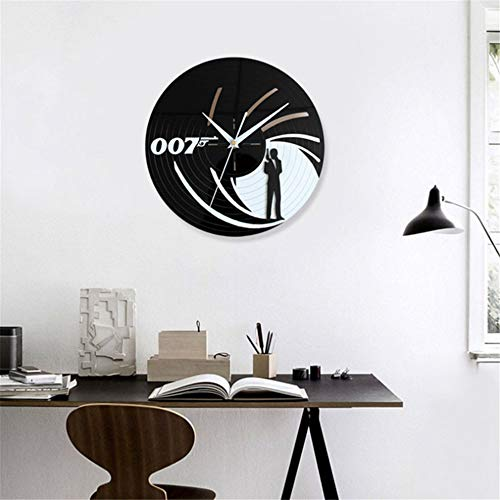 xushihanjjli Wall Clock Creative 007 James Bond Vinyl Reord Black Hollow Round Antique Style Hanging Wall Home Decor in Home Dining Room Kitchen Office School