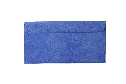 Accessoryo - königsblau Wildleder -Umschlaghandtasche der Frauen