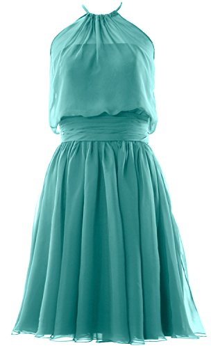 Halter Turquoise Dress Short Gown Chiffon Formal MACloth Cocktail Women Party Bridesmaid 5wvFFp
