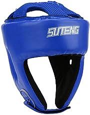 HelloCreate Kask bokserski skóra PU regulowany ochraniacz głowy Sanda kickboxing trening obronny czarny mały rozmiar