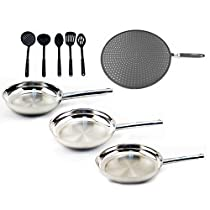 BergHOFF 9 Piece Non-Stick Cookware Set-3 Fry Pans & 6 Piece Tool Set, Silver/Black
